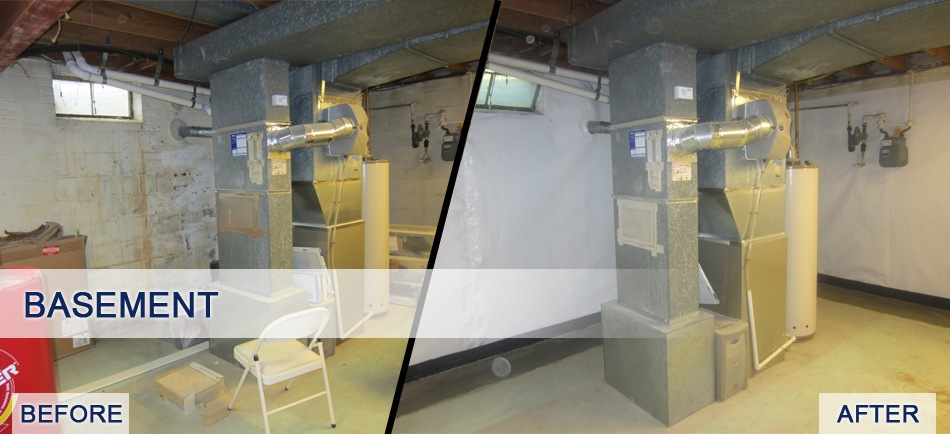 Before and after of basement vapor barrier installation