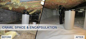 Crawl Space Encapsulation project before and after