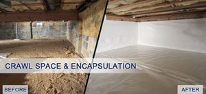 Basement encapsulation process before and after