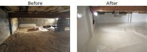 Full crawl space encapsulation process before and after