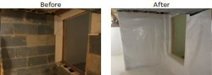 Basement encapsulation before and after