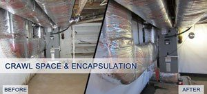 Basement/crawl space vapor barrier before and after