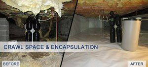 Crawl space recovery system before and after