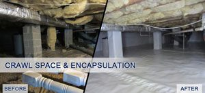 Crawl space encapsulation before and after